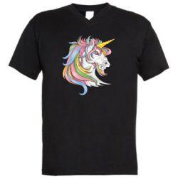 Чоловіча футболка з V-подібним вирізом Кінь з кольоровою гривою