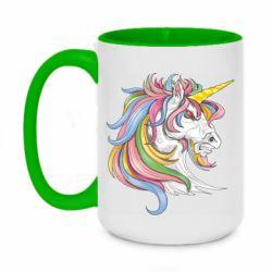 Кружка двоколірна 420ml Кінь з кольоровою гривою