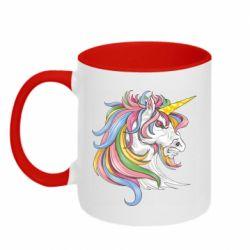 Кружка двоколірна 320ml Кінь з кольоровою гривою