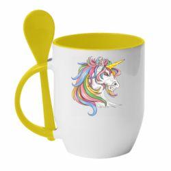 Кружка з керамічною ложкою Кінь з кольоровою гривою