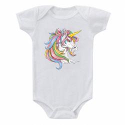 Дитячий бодік Кінь з кольоровою гривою