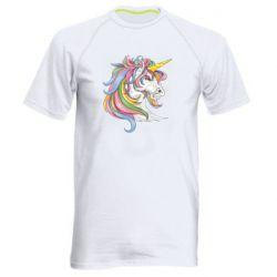 Чоловіча спортивна футболка Кінь з кольоровою гривою