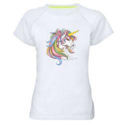 Жіноча спортивна футболка Кінь з кольоровою гривою