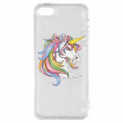Чохол для iphone 5/5S/SE Кінь з кольоровою гривою