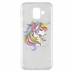 Чохол для Samsung A6 2018 Кінь з кольоровою гривою