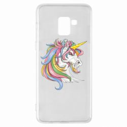 Чохол для Samsung A8+ 2018 Кінь з кольоровою гривою
