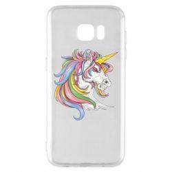 Чохол для Samsung S7 EDGE Кінь з кольоровою гривою