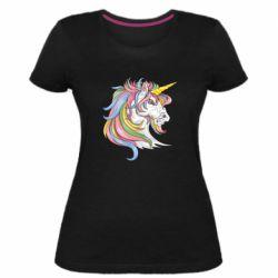 Жіноча стрейчева футболка Кінь з кольоровою гривою