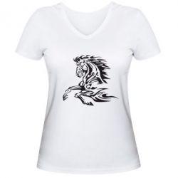 Женская футболка с V-образным вырезом Лошадь - FatLine