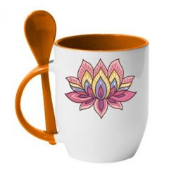 Кружка с керамической ложкой Lotus - FatLine