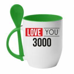 Кружка с керамической ложкой Love 300