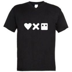 Чоловіча футболка з V-подібним вирізом Love and robots