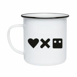 Кружка емальована Love and robots