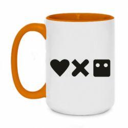 Кружка двоколірна 420ml Love and robots