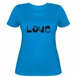 Женская футболка Love consists of cats