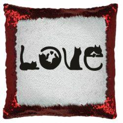 Подушка-хамелеон Love consists of cats