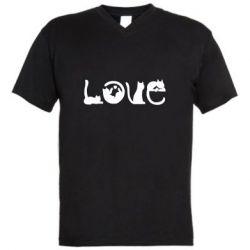 Мужская футболка  с V-образным вырезом Love consists of cats