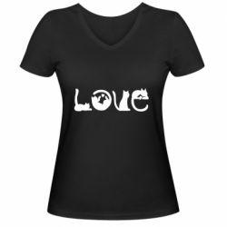 Женская футболка с V-образным вырезом Love consists of cats