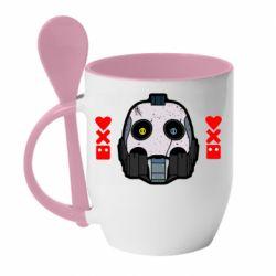 Кружка с керамической ложкой Love death and robots