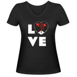 Жіноча футболка з V-подібним вирізом LOVE hedgehogs