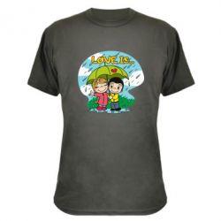 Камуфляжна футболка Love is ... in the rain