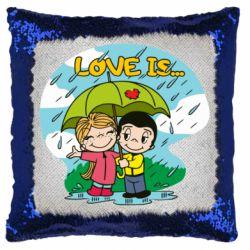 Подушка-хамелеон Love is ... in the rain