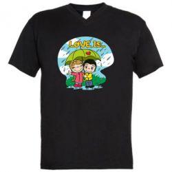 Чоловіча футболка з V-подібним вирізом Love is ... in the rain