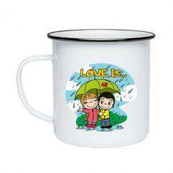 Кружка емальована Love is ... in the rain