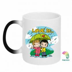 Кружка-хамелеон Love is ... in the rain