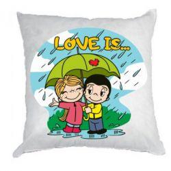 Подушка Love is ... in the rain