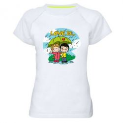 Жіноча спортивна футболка Love is ... in the rain