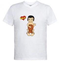 Мужская футболка  с V-образным вырезом Love is... Sex :) - FatLine