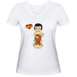 Женская футболка с V-образным вырезом Love is... Sex :) - FatLine