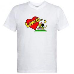 Мужская футболка  с V-образным вырезом Love is... - FatLine