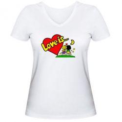 Женская футболка с V-образным вырезом Love is... - FatLine