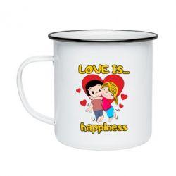 Кружка емальована love is...happyness