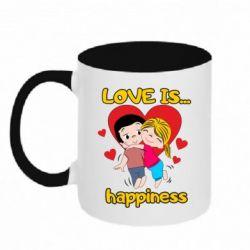 Кружка двоколірна 320ml love is...happyness