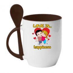 Кружка з керамічною ложкою love is...happyness
