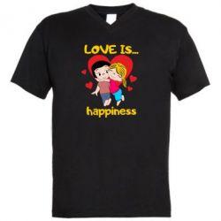 Чоловіча футболка з V-подібним вирізом love is...happyness