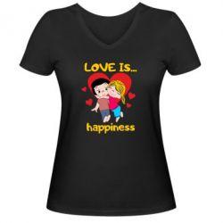 Жіноча футболка з V-подібним вирізом love is...happyness
