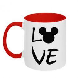 Кружка двоколірна 320ml Love Mickey Mouse (male)