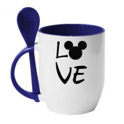 Кружка з керамічною ложкою Love Mickey Mouse (male)