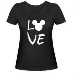 Жіноча футболка з V-подібним вирізом Love Mickey Mouse (male)