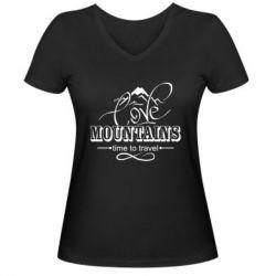 Жіноча футболка з V-подібним вирізом Love mountains
