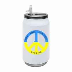 Термобанка 350ml Love,peace, rock'n'roll, Ukraine