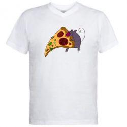 Мужская футболка  с V-образным вырезом Love Pizza 2 - FatLine
