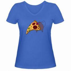 Женская футболка с V-образным вырезом Love Pizza 2 - FatLine