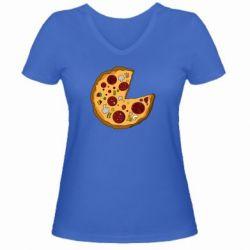 Женская футболка с V-образным вырезом Love Pizza - FatLine