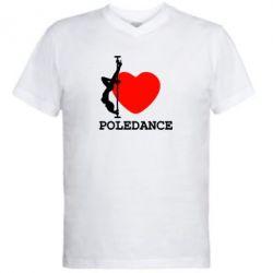 Мужская футболка  с V-образным вырезом Love Pole Dance - FatLine