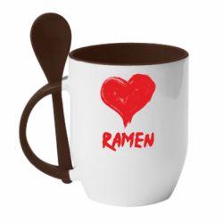 Кружка з керамічною ложкою Love ramen